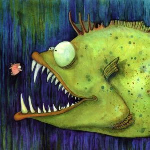 """Hungry Ned"" Fish Watercolor Print"